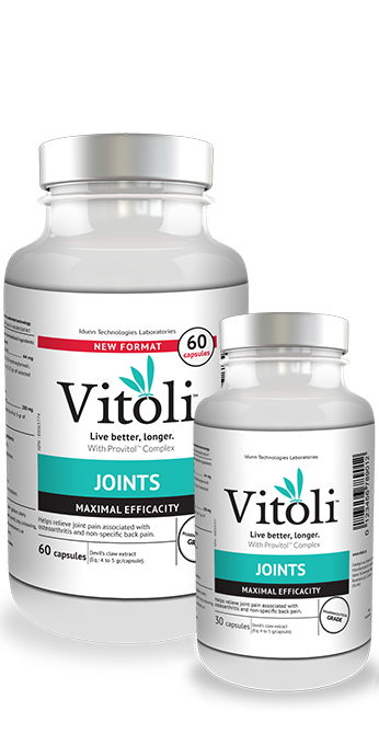 Bottles of 30 and 60 capsules of Vitoli Joints