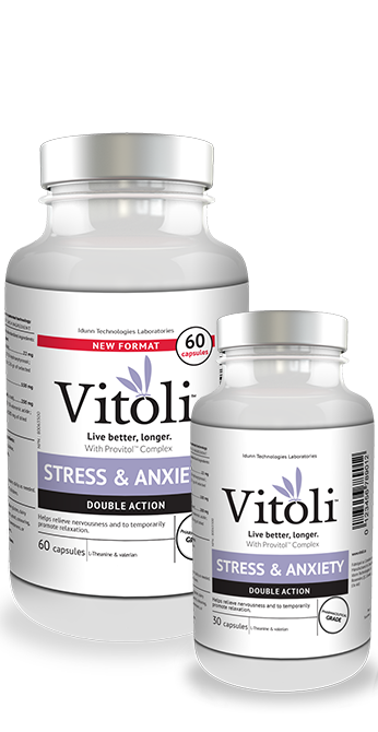 Bottles of 30 and 60 capsules of Vitoli Stress and Anxiety