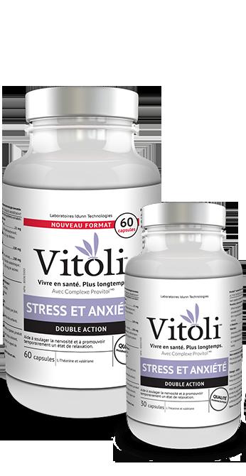 Bouteilles de 30 et 60 capsules du produit Stress et anxiété de Vitoli