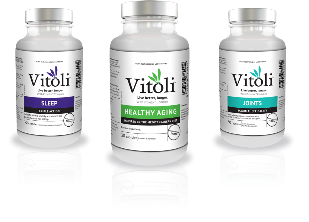 Three bottles of Vitoli products